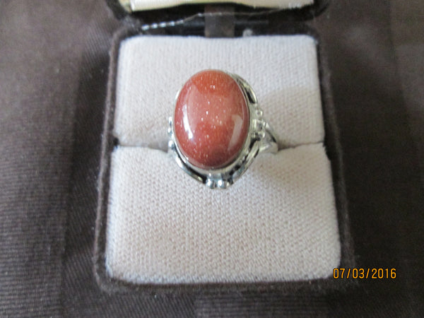 Antique 925 Silver  Gold Sandstone (Goldstone) Ring     R-07 - Birthstones and More