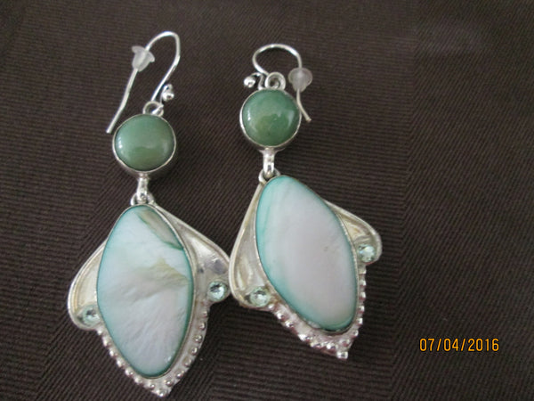 Glorious Green Mother of Pearl and Chrysophase Earrings     OE-06 - Birthstones and More
