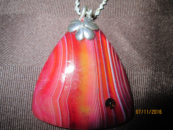 Auburn Striped Triangle Onyx Agate Pendant                            P-037 - Birthstones and More