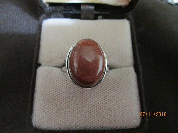 Antique 925 Silver  Gold Sandstone (Goldstone) Ring     R-013 - Birthstones and More