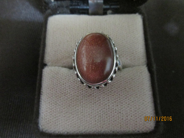Antique 925 Silver  Gold Sandstone (Goldstone) Ring     R-014 - Birthstones and More