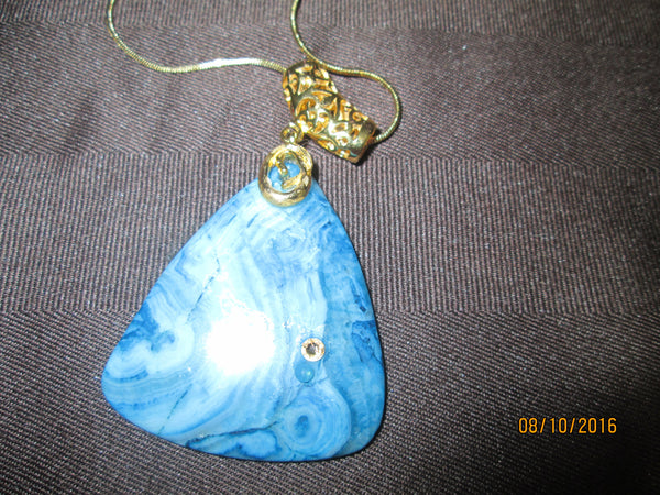 Beauteous Blue Crazy Lace Agate Pendant      P-050 - Birthstones and More