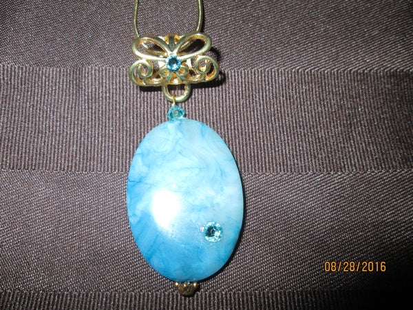 Bonny Blue Crazy Lace Agate Pendant                 P-064 - Birthstones and More