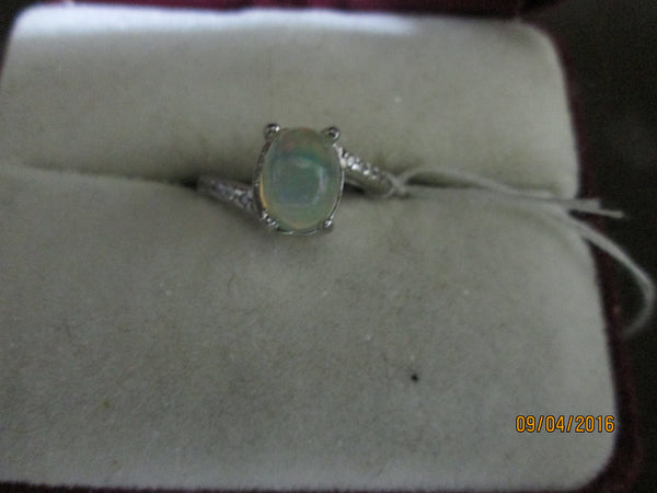 925 Sterling Silver Ethiopian Opal & CZ Ring       EO-25 - Birthstones and More