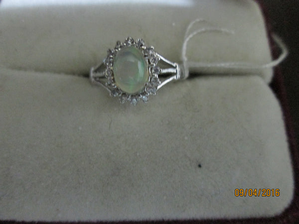 Dainty 925 Sterling Silver Ethiopian Opal & CZ Ring       EO-26 - Birthstones and More
