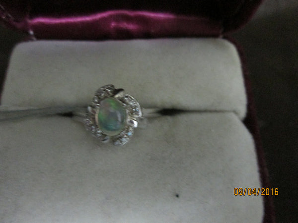 925 Sterling Silver Ethiopian Opal & CZ Ring       EO-29 - Birthstones and More