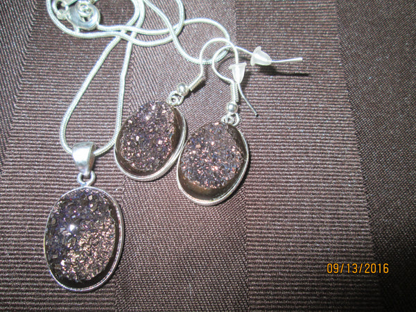 Brown Natural  Agate Titanium Druzy Pendant & Earrings  OE-71 - Birthstones and More