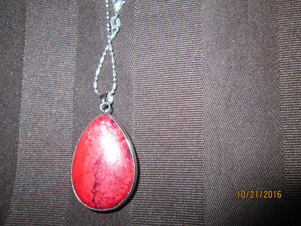 Raging Red Turquoise Teardrop  Birthstone Pendant  P-094