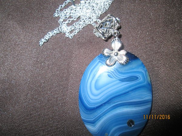 Bodacious Blue Striped Agate Pendant   P-113 - Birthstones and More