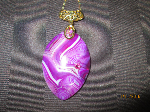 Magnificent Magenta Marquise Striped Agate Pendant   P-114