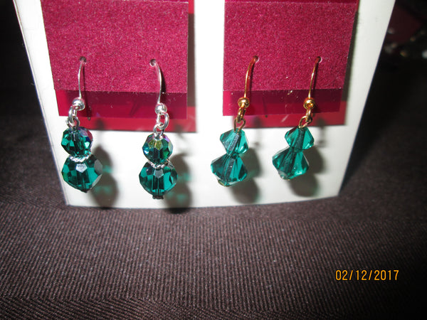 Swarovski Crystal Birthstone Earrings (May-Emerald)    SW-BE-05