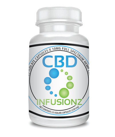 CBD Isolate Capsules 10mg per CBD Capsule, 25 x Capsules Per Bottle 250mg, No preservatives, Non GMO, Vegetarian, Gluten Free, Vegan