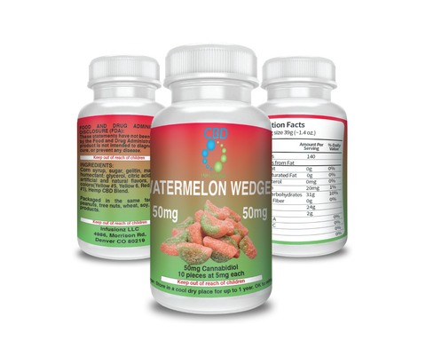 CBD Infusionz Watermelon Wedges CBD Edibles - 50mg CBD