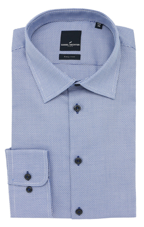 Shape Business Mid Blue Textured Shirt