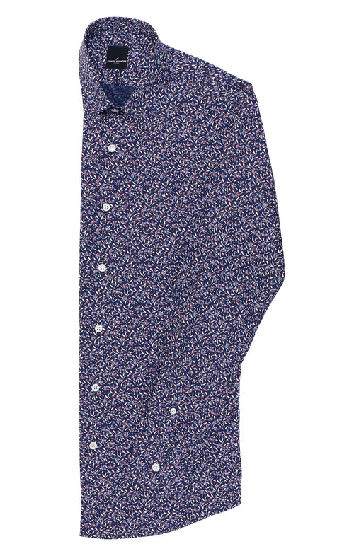 Christian Brookes Sel Purple Floral Casual Shirt