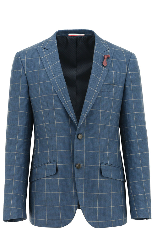 Peak Blue Windowpane Check Sports Jacket