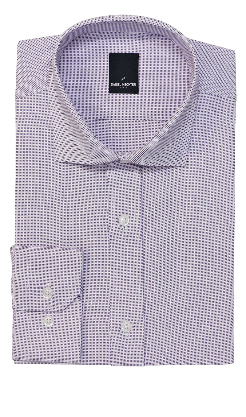 NEW Daniel Hechter Jacque Purple Micro Check Business Shirt