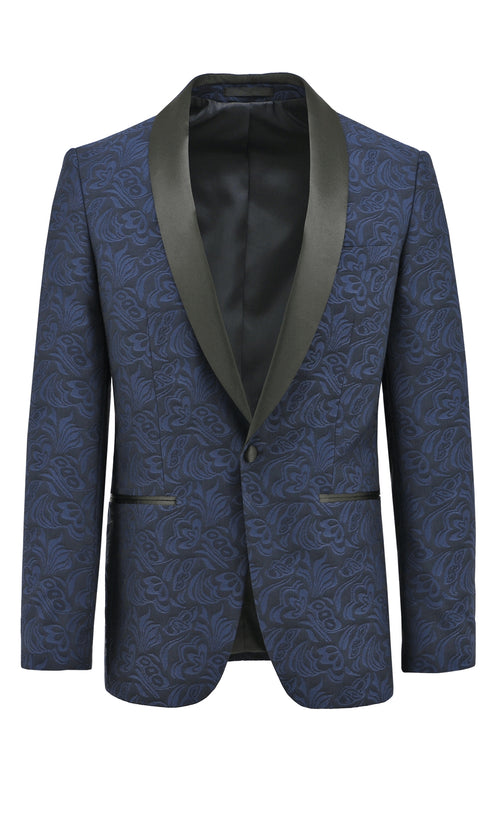 Christian Brookes Shawl Shape Blue Paisley Suit Jacket - LIMITED STOCK