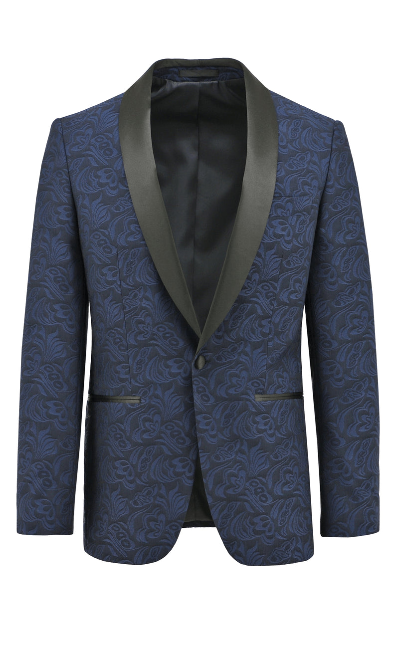 Christian Brookes Shawl Shape Blue Paisley Suit Jacket