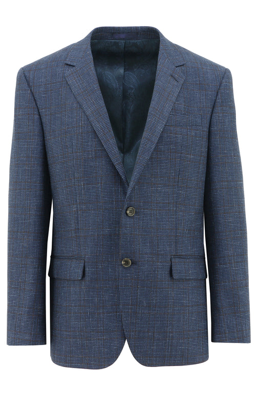 Michel Blue Herringbone Wool Sports Jacket