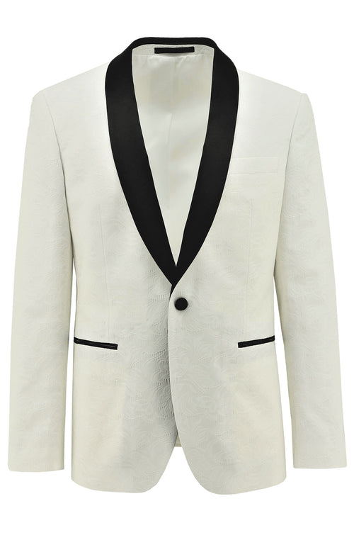 Christian Brookes Shawl Shape White Paisley Suit Jacket