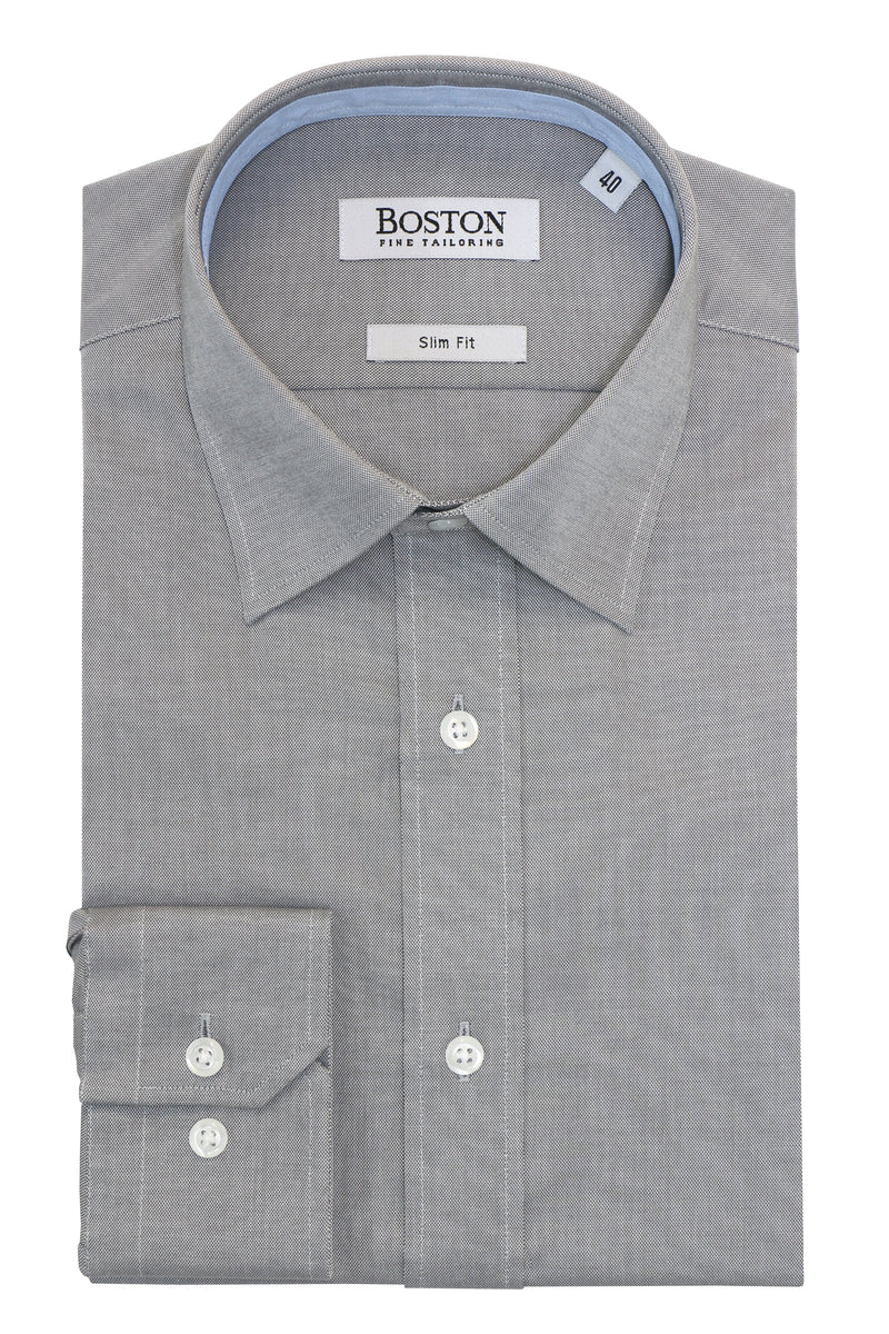 Boston Liberty Business Grey Textured Cotton Shirt