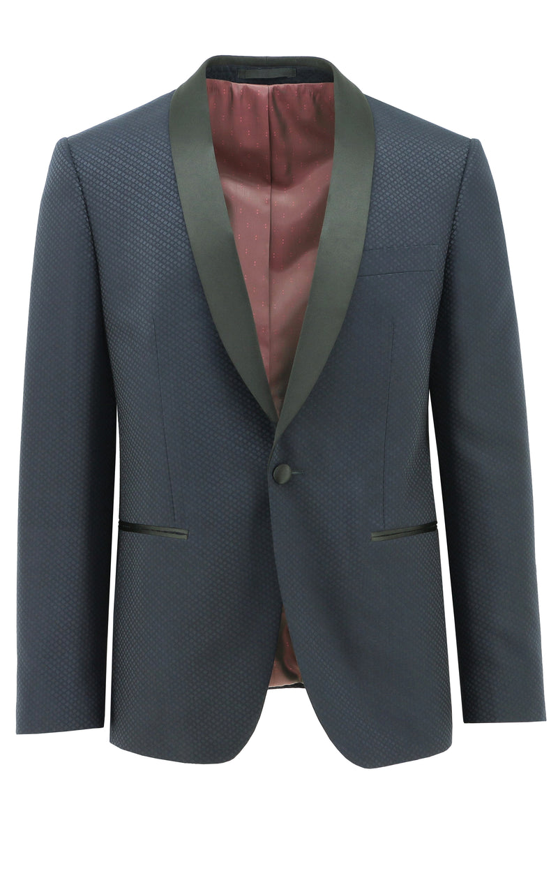 Christian Brookes Tux Blue Diamond Cut Suit Jacket