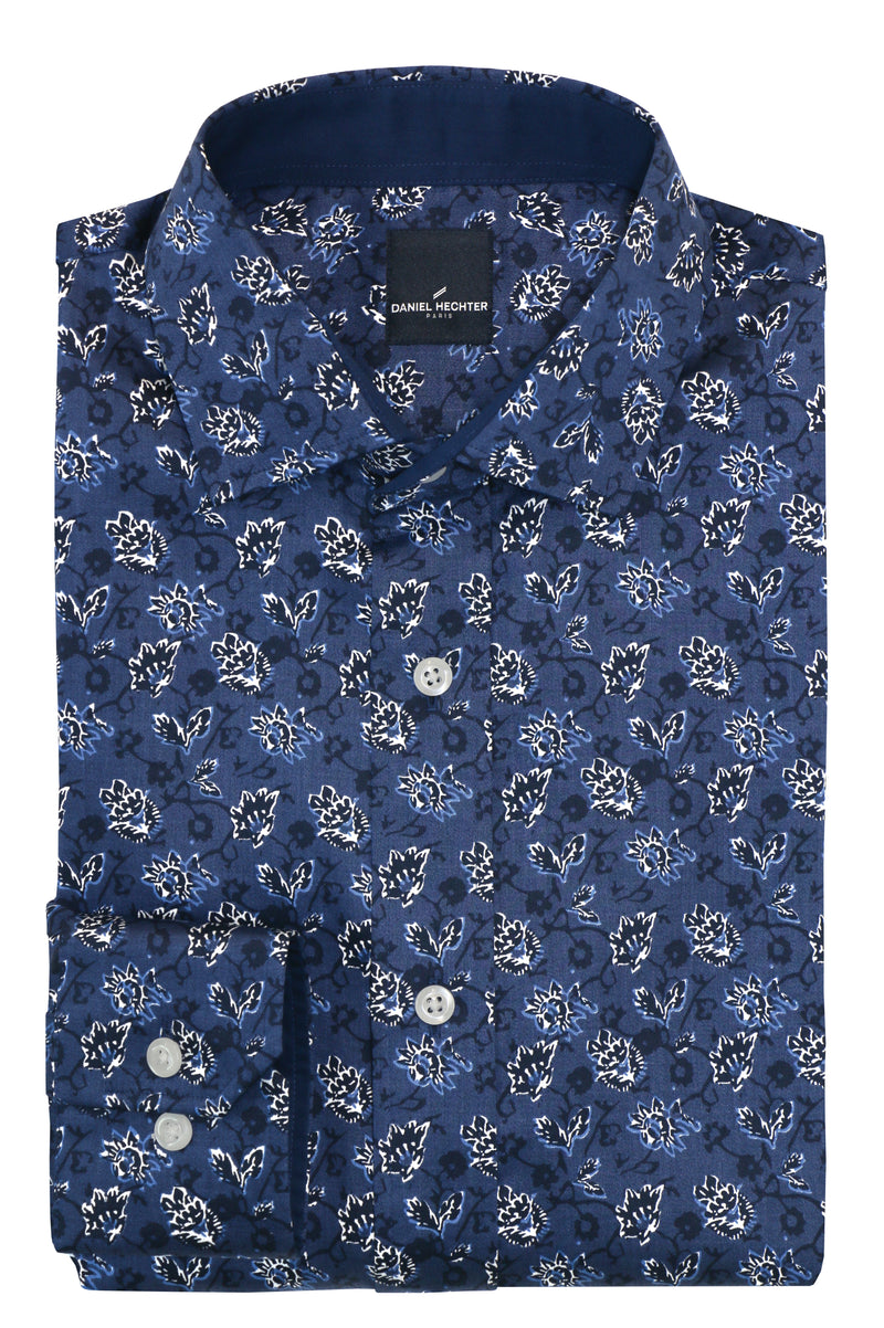 Daniel Hechter Sel Blue Tonal Floral Casual Shirt - LIMITED STOCK