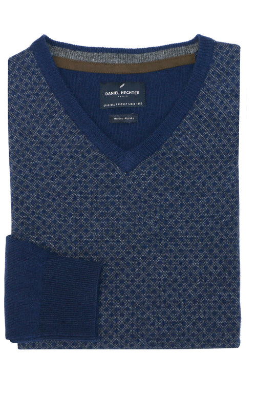 Daniel Hechter V-Neck Blue Geometric Knit