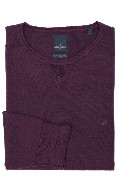 Daniel Hechter Crew V-Stitch Purple Wool Blend Knit