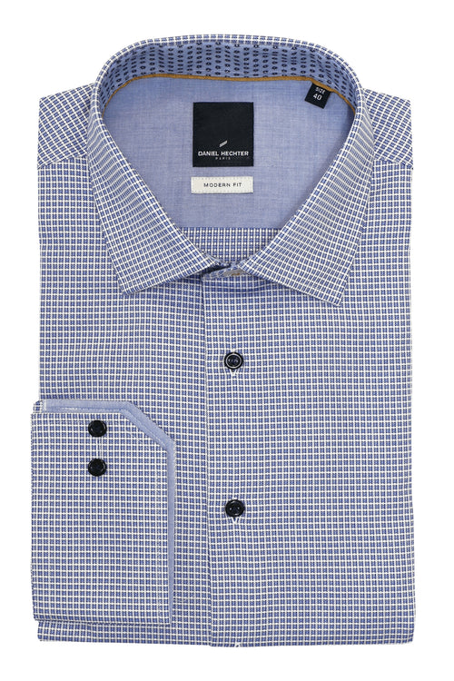 Daniel Hechter Shape Blue Layered Check Shirt