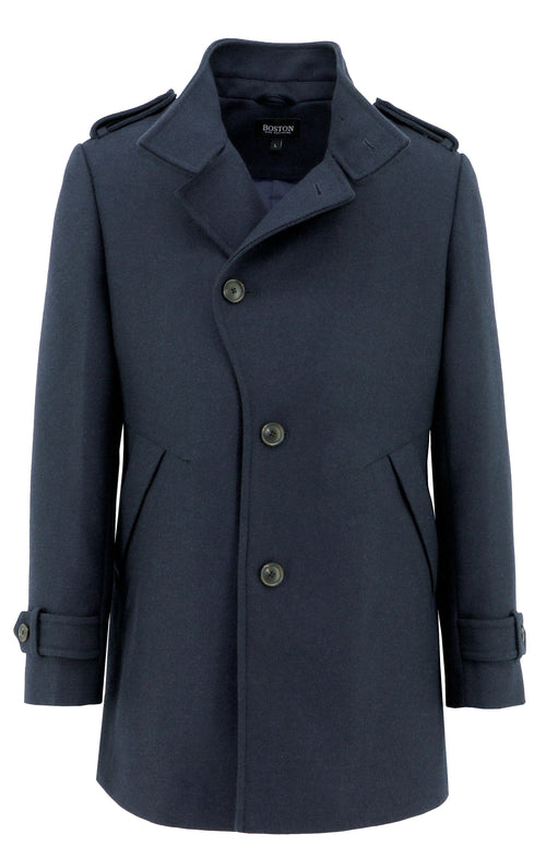 Boston Trench Navy Wool Blend Coat - LIMITED STOCK