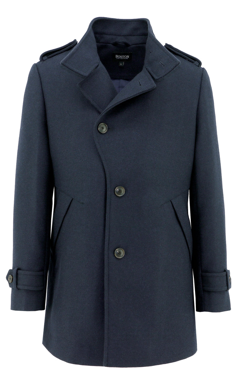 Trench Navy Wool Blend Coat