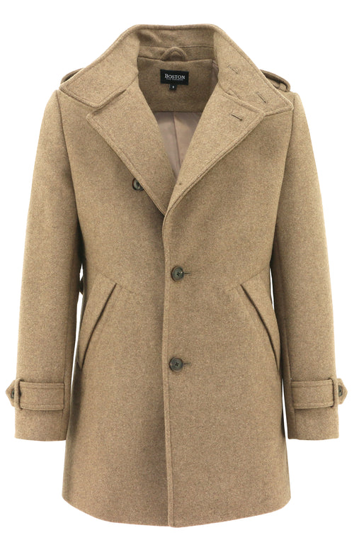 Trench Tan Wool Blend Coat