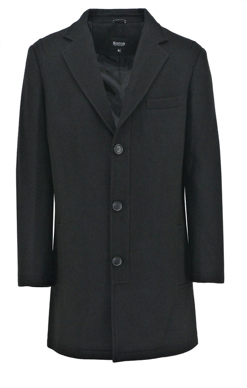 Jones Black Wool Blend Overcoat