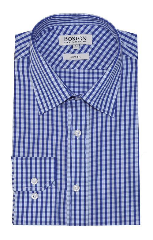 Boston Liberty Business Blue Gingham Shirt