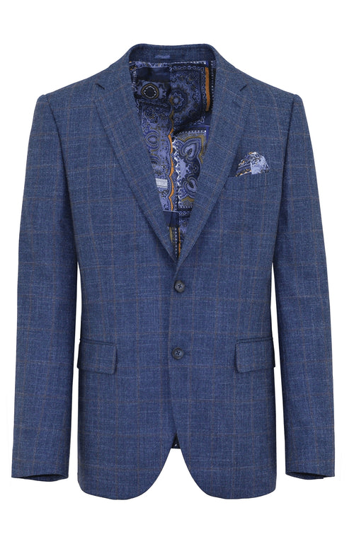 Christian Brookes Shape Blue Check Sports Jacket