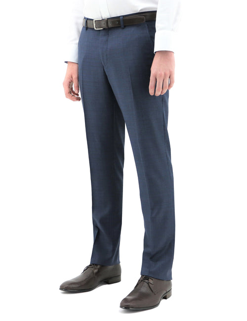 Boston Edward Blue Textured Wool Trouser