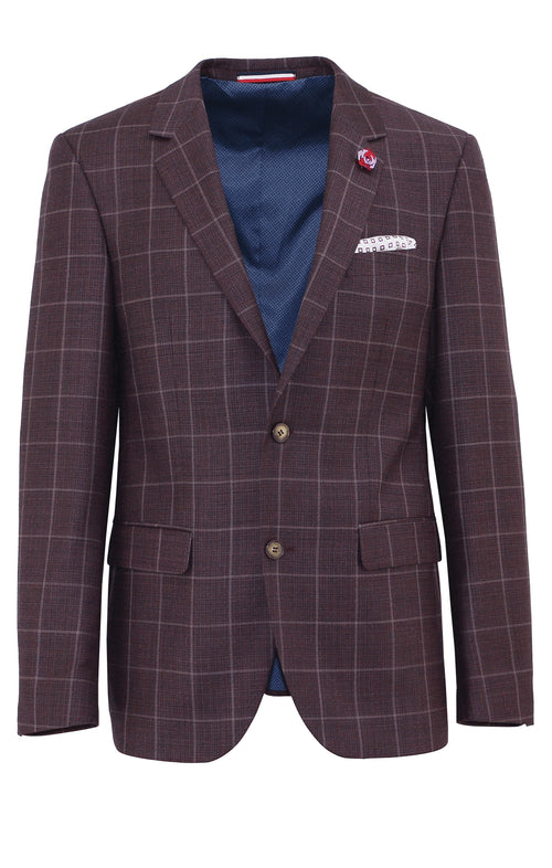 Daniel Hechter Shape Plum Windowpane Wool Sports Jacket