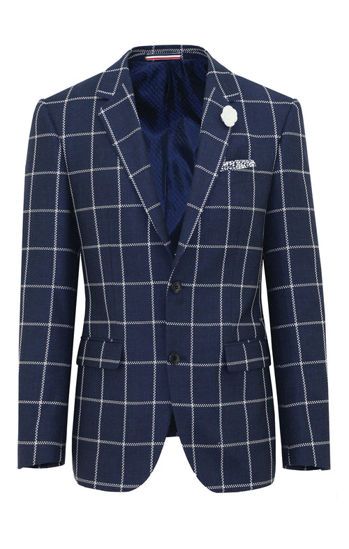 Daniel Hechter Shape Windowpane Wool Sports Jacket
