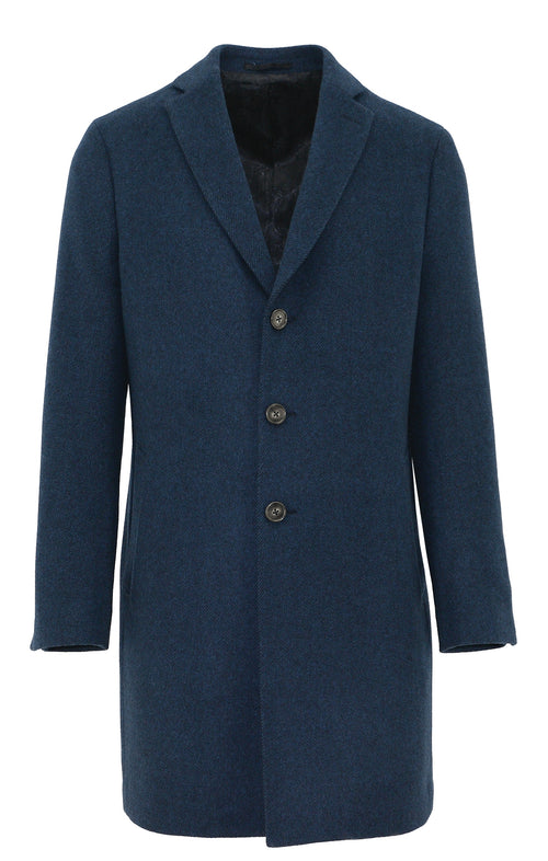 - ONLINE EXCLUSIVE - Daniel Hechter Chicago Blue Wool Blend Overcoat