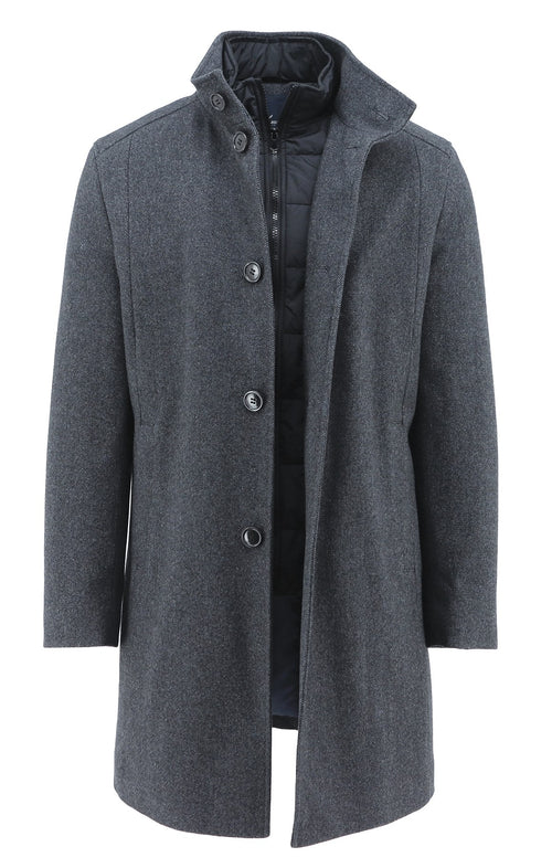 - ONLINE EXCLUSIVE - Daniel Hechter Oliver Charcoal Overcoat - LIMITED STOCK