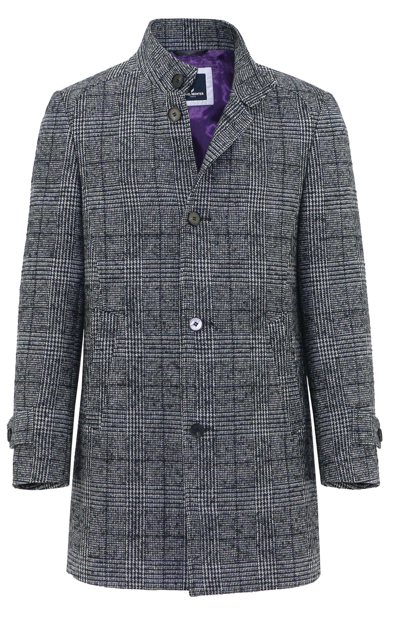 - ONLINE EXCLUSIVE - Daniel Hechter Butler Grey Check Overcoat - LIMITED STOCK