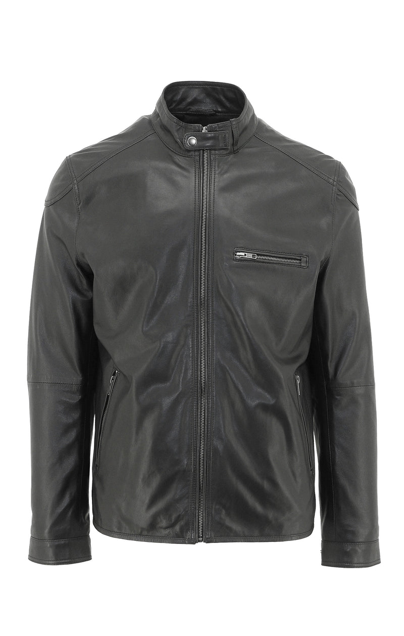 - ONLINE EXCLUSIVE - Daniel Hechter Cyclone Black Leather Jacket