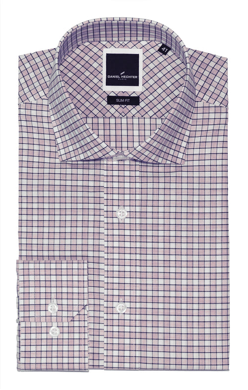 Daniel Hechter Jacque Business Purple Check Shirt