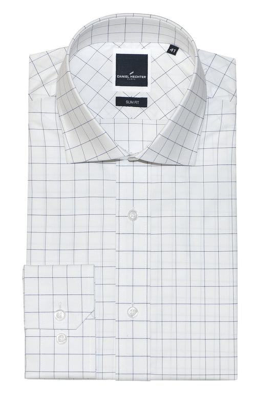 Daniel Hechter Jacque Business Blue Windowpane Shirt