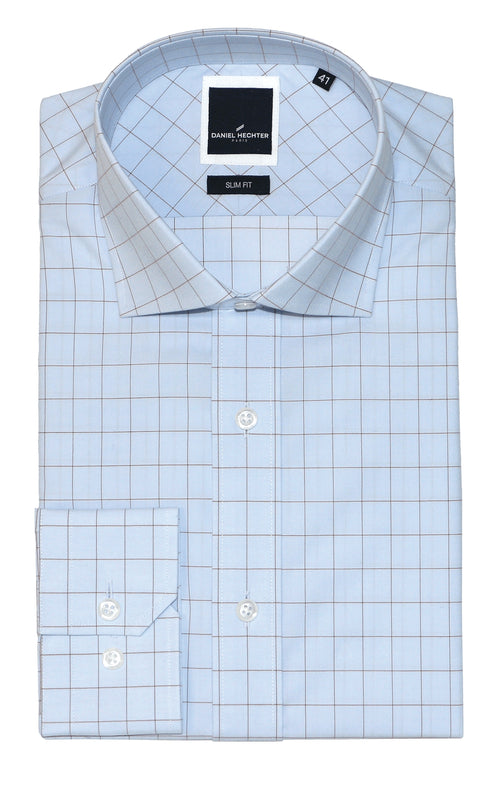 Jacque Business Brown Windowpane Shirt