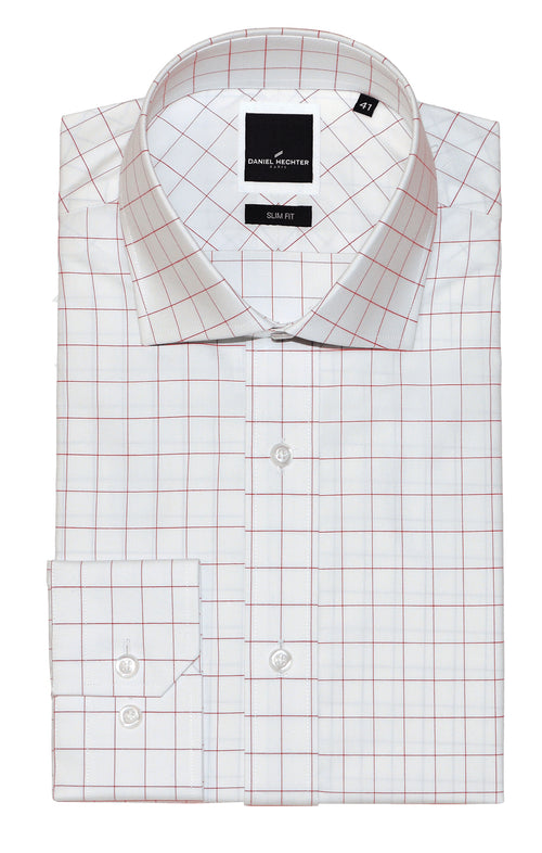 Daniel Hechter Jacque Business Red Windowpane Shirt