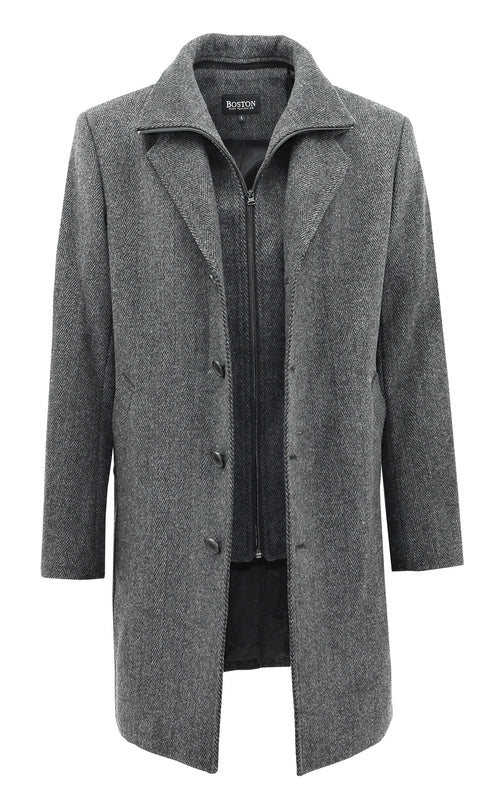 Boston Profile Grey Wool Blend Overcoat