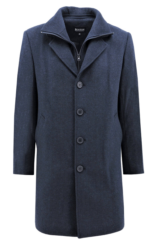 Boston Profile Navy Wool Blend Overcoat